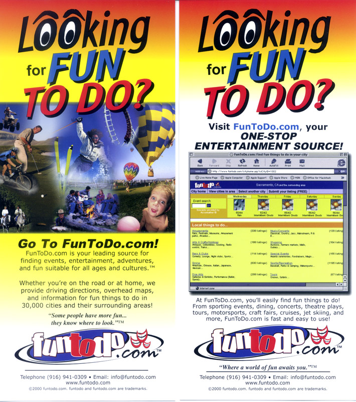 The front and back of our  FunToDo brochure, given away in hotels