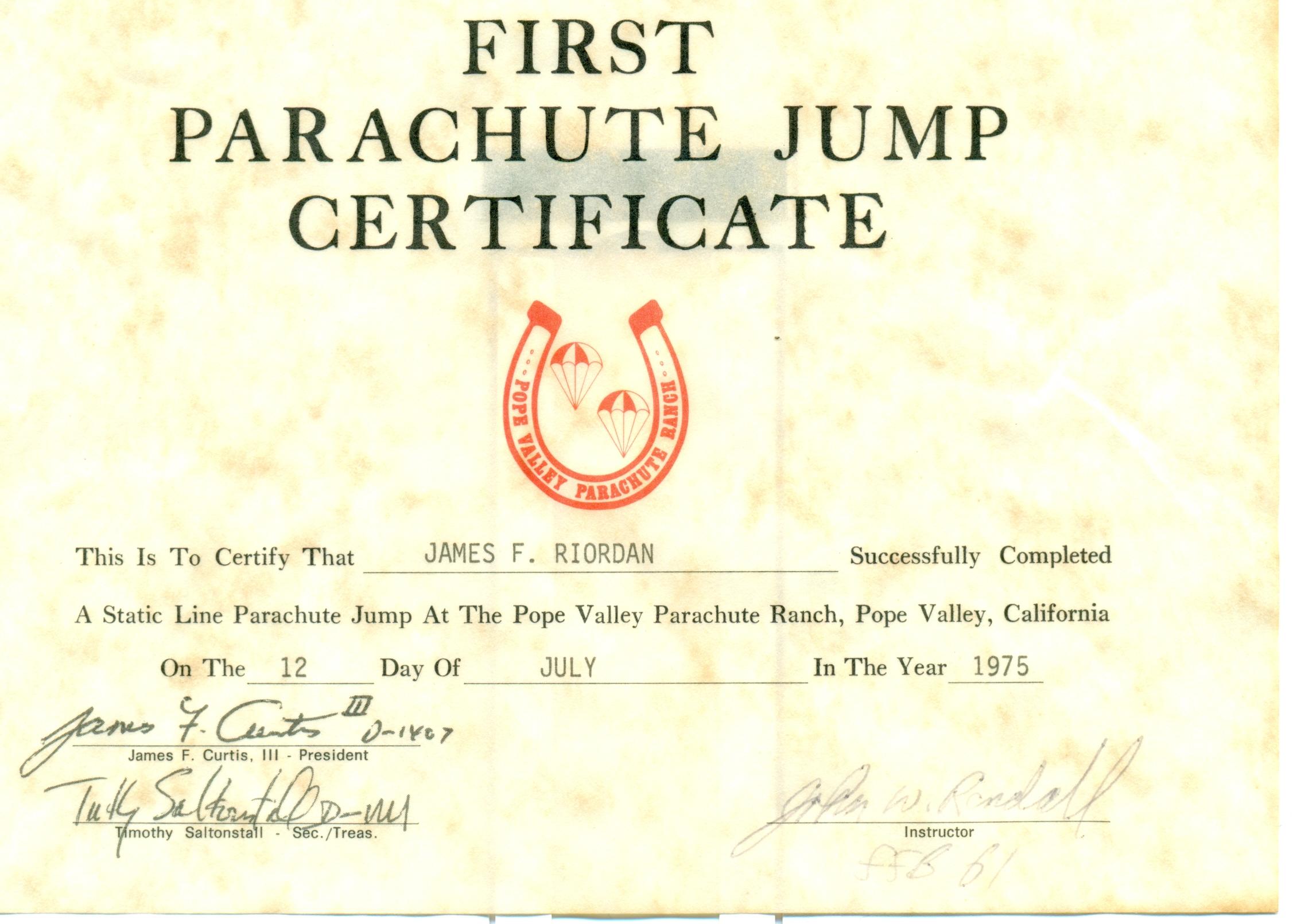 First Jump Certificate