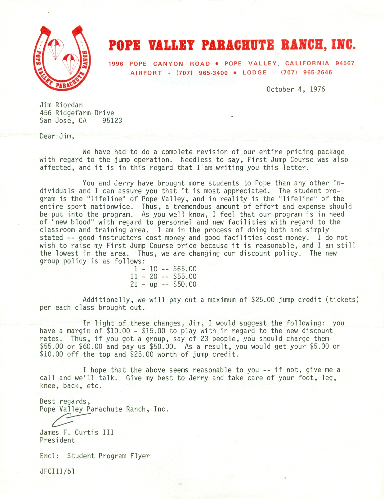 Pope Valley Parachute Ranch, Inc. letter to Jim Riordan